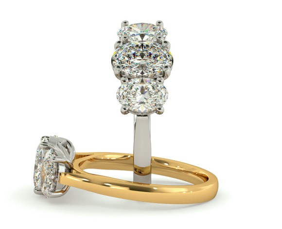 Oval 3 Stone Diamond Ring - HROTR140 - 360 animation
