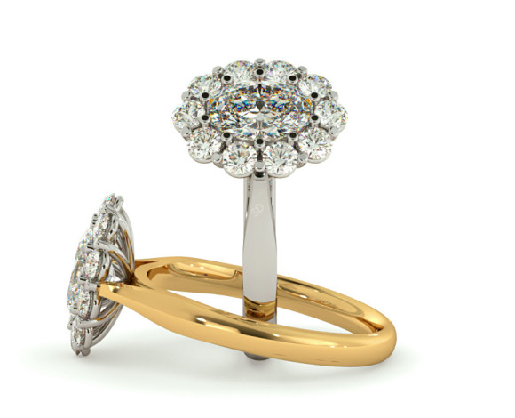 Oval Cluster Diamond Ring - HROTR252 - 360 animation