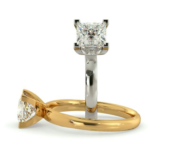 Princess Solitaire Diamond Ring - HRP387 - 360 animation