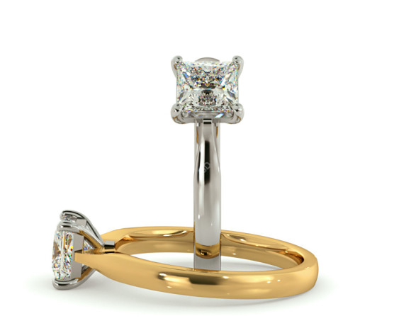 Four Prongs Princess cut Solitaire Diamond Ring - HRP423 - 360 animation