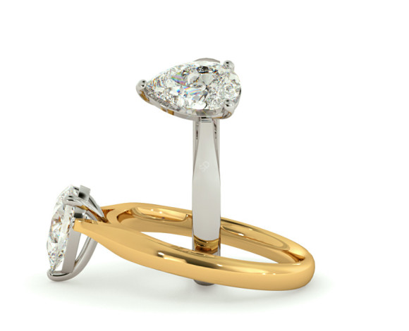 Pear Solitaire Diamond Ring - HRPE344 - 360 animation