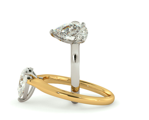 Pear Solitaire Diamond Ring - HRPE380 - 360 animation