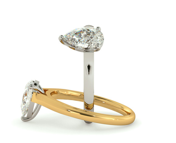 Pear Solitaire Diamond Ring - HRPE396 - 360 animation