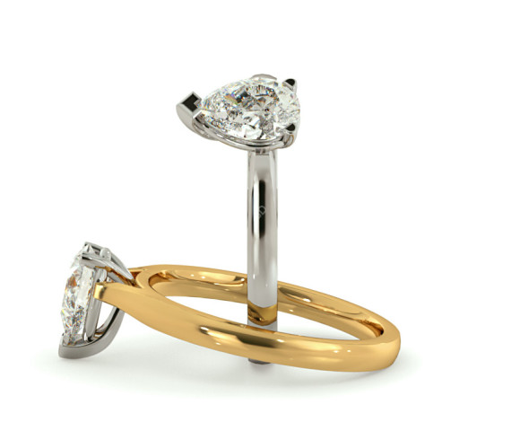 Pear Solitaire Diamond Ring - HRPE442 - 360 animation