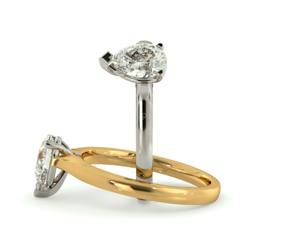 Pear Solitaire Diamond Ring - HRPE462 - 360 animation