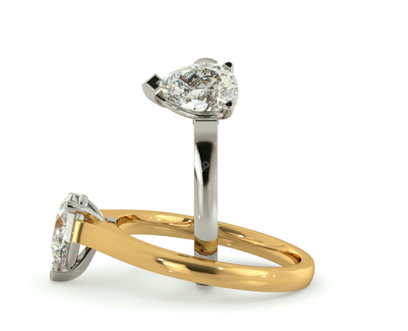 Pear Solitaire Diamond Ring - HRPE465 - 360 animation