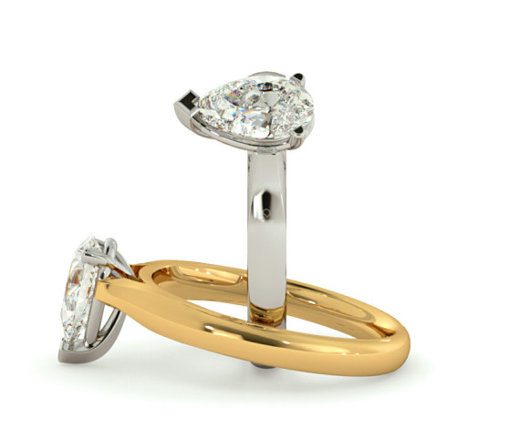Pear Solitaire Diamond Ring - HRPE531 - 360 animation