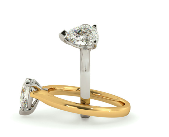 Pear Solitaire Diamond Ring - HRPE532 - 360 animation