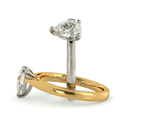 Pear Solitaire Diamond Ring - HRPE565 - 360 animation