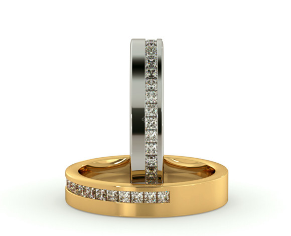 SAGITTA 60% Offset Princess cut Half Diamond Eternity Band - HRPHE775 - 360 animation