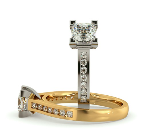 V Set Princess cut Channel Set Shoulder Diamond Ring - HRPSD494 - 360 animation