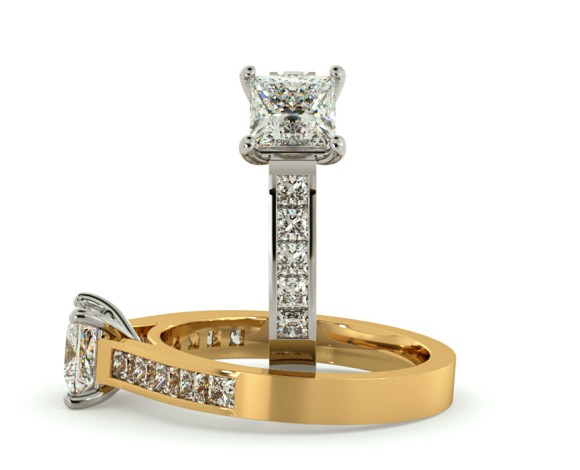 Princess cut Diamond Ring with Accent Stones - HRPSD527 - 360 animation