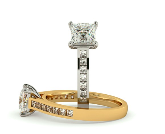 Princess Shoulder Diamond Ring - HRPSD576 - 360 animation