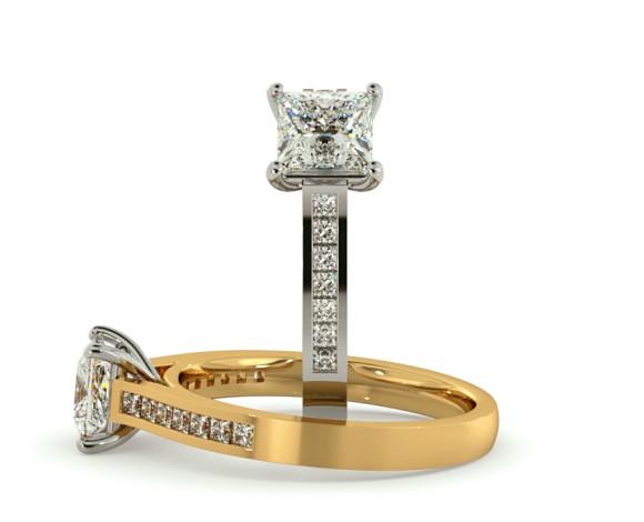 Princess Shoulder Diamond Ring - HRPSD579 - 360 animation