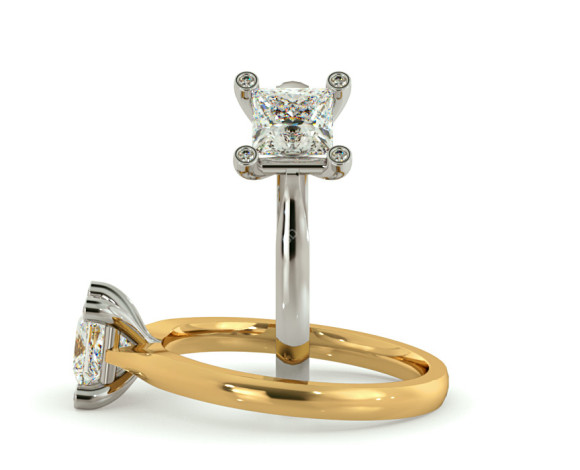 Princess cut Studded Claw Diamond Engagement Ring - HRPSD738 - 360 animation