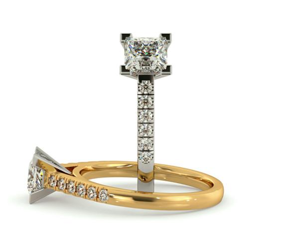 V set Princess  cut U prong Shoulder Diamond Engagement Ring - HRPSD795 - 360 animation