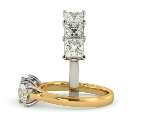 3 Princess Diamonds Trilogy Ring - HRPTR131 - 360 animation