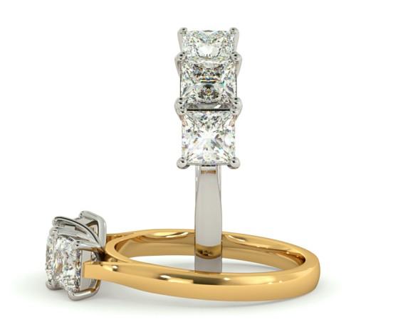 Princess 3 Stone Diamond Ring - HRPTR133 - 360 animation