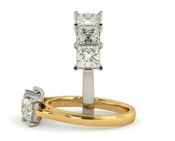 Princess 3 Stone Diamond Ring - HRPTR139 - 360 animation