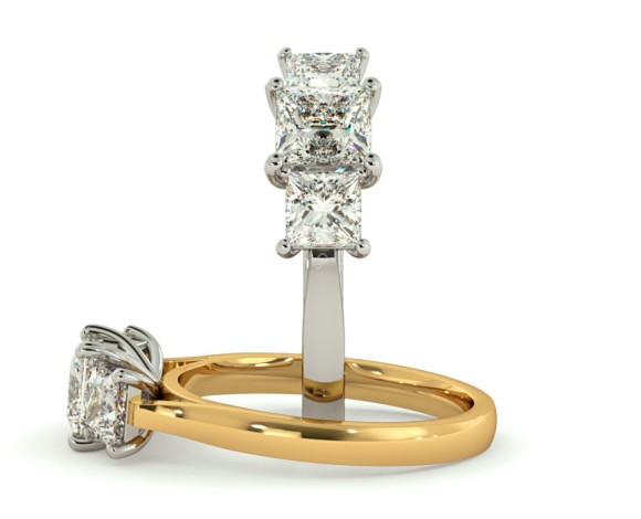 Princess 3 Stone Diamond Ring - HRPTR151 - 360 animation