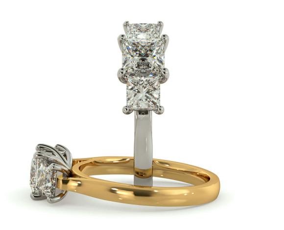 Princess 3 Stone Diamond Ring - HRPTR151 - 360 animation