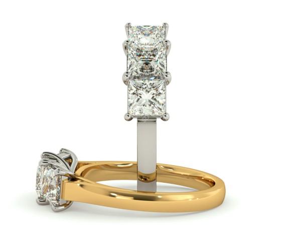 Princess 3 Stone Diamond Ring - HRPTR155 - 360 animation
