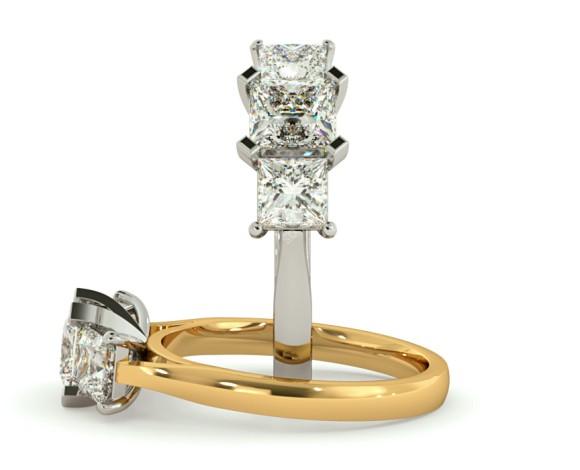 Princess 3 Stone Diamond Ring - HRPTR156 - 360 animation