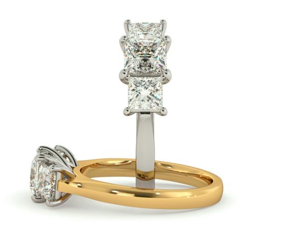Princess 3 Stone Diamond Ring - HRPTR163 - 360 animation