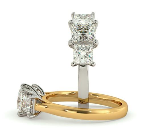 Princess 3 Stone Diamond Ring - HRPTR168 - 360 animation
