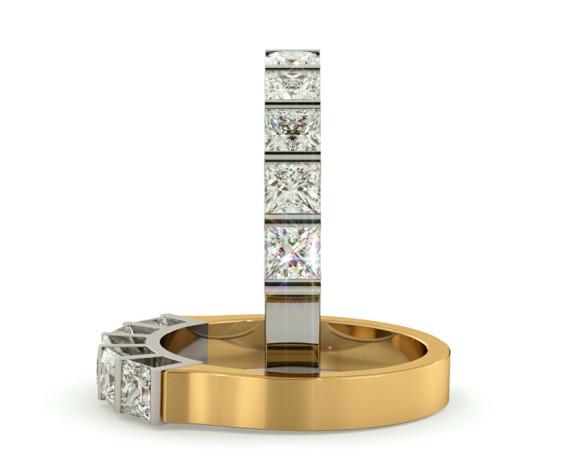 Princess 5 Stone Diamond Ring - HRPTR210 - 360 animation