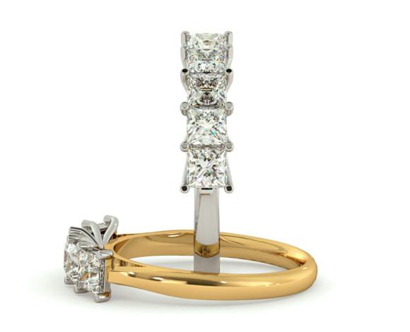 Princess 5 Stone Diamond Ring - HRPTR218 - 360 animation