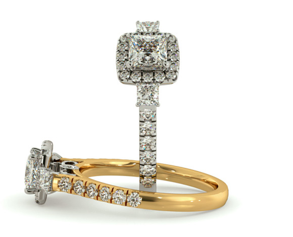 3 Stone Princess cut Halo Diamond Engagement Ring - HRPTR733 - 360 animation