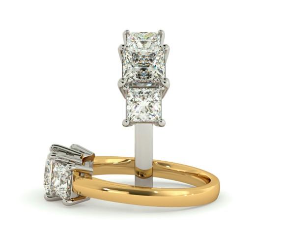 Princess 3 Stone Diamond Ring - HRPTR89 - 360 animation