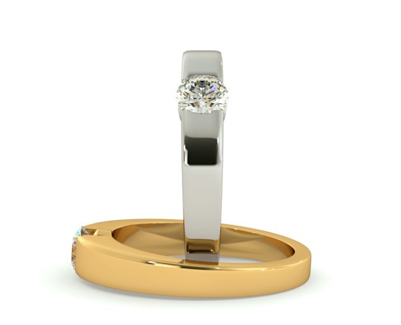 Modern Round Cut Solitaire Diamond Ring - HRR260 - 360 animation