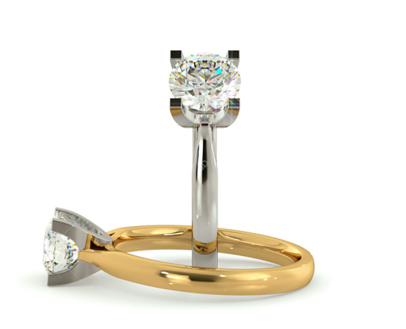High Setting Round cut Solitaire Diamond Ring - HRR273 - 360 animation