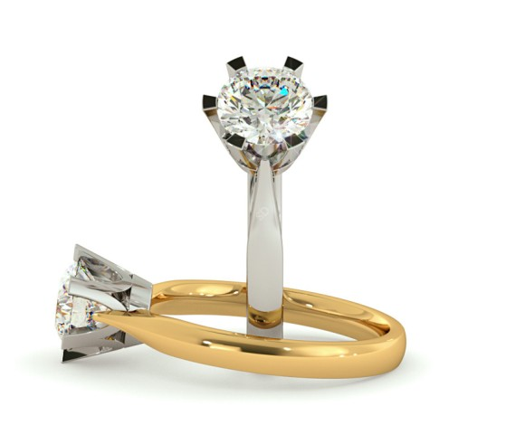 Crown Set Round Cut Solitaire Diamond Ring - HRR299 - 360 animation
