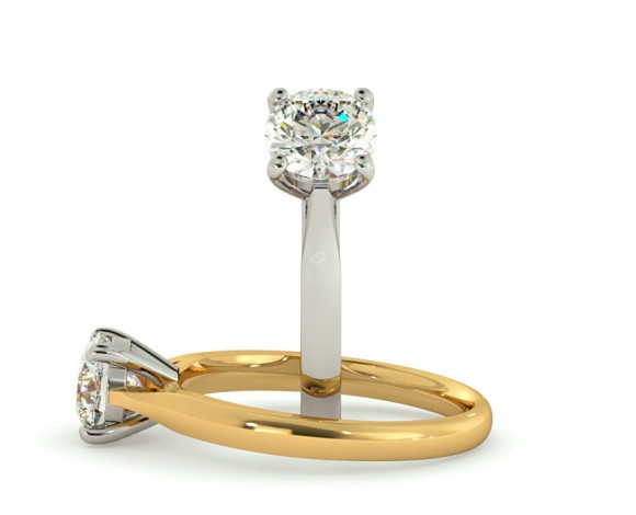 4 Prong Round cut Solitaire Diamond Ring - HRR354 - 360 animation