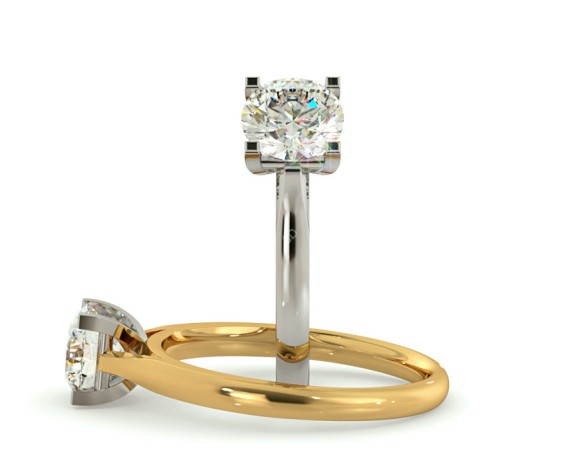 Square Claw Round cut Solitaire Diamond Ring - HRR377 - 360 animation
