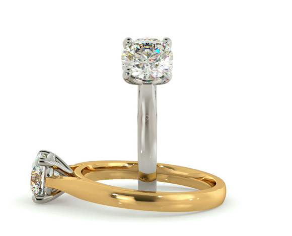 Round Solitaire Diamond Ring - HRR403 - 360 animation