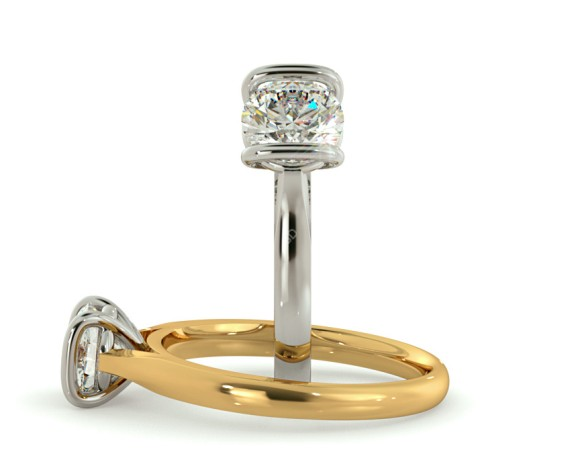 Bar Set Round cut Solitaire Diamond Ring - HRR410 - 360 animation
