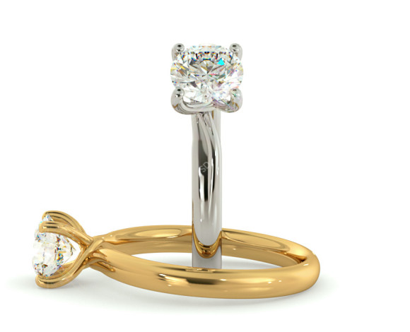 Crossover Setting Round Cut Solitaire Diamond Ring - HRR413 - 360 animation