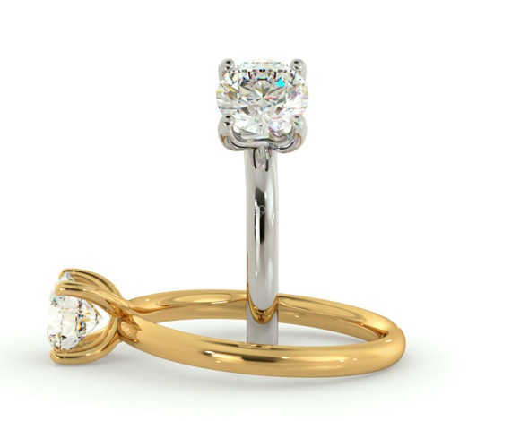 Crossover Set Round cut Solitaire Diamond Ring - HRR556 - 360 animation