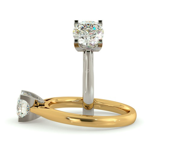 Low Set Round cut Solitaire Diamond Ring - HRR560 - 360 animation