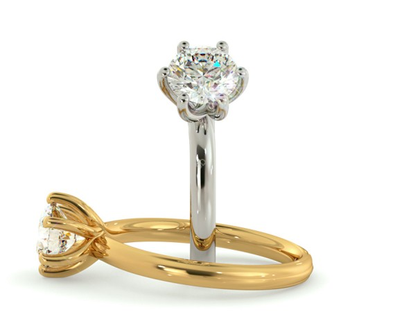 Crossover Style Round cut Solitaire Diamond Ring - HRR578 - 360 animation