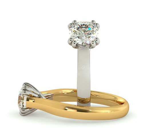 Double Claw Round cut Solitaire Diamond Ring - HRR639 - 360 animation