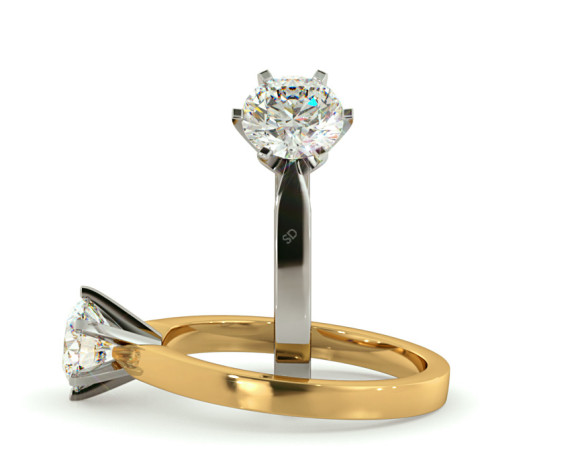 Round cut 6 Modern Claws Diamond Engagement Ring - HRR792 - 360 animation