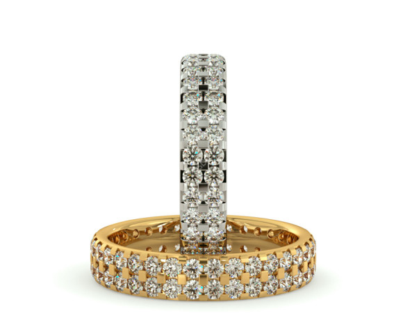 FORNAX Double row Round cut Full Eternity Ring - HRRFE754 - 360 animation