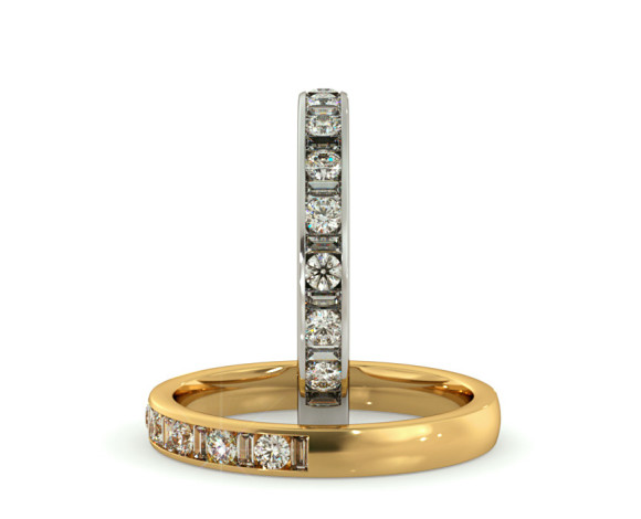 Round & Baguette Half Eternity Diamond Ring - HRRHE1005 - 360 animation