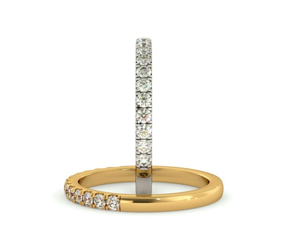 PHOENIX Round cut Half Diamond Eternity Ring - HRRHE735 - 360 animation