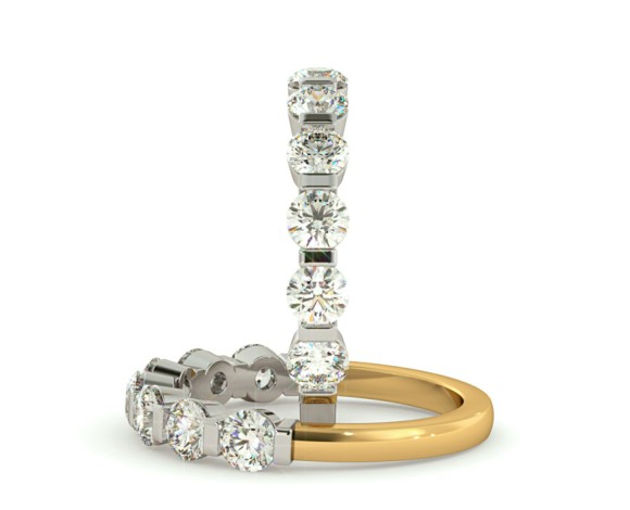 ARIES Round cut 7 Stone Diamond Eternity Ring - HRRHE742 - 360 animation